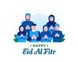 felice eid al fitr sfondo con membri della famiglia musulmana vettore