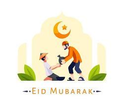 Sfondo di eid mubarak con giovane musulmano che dà donazione