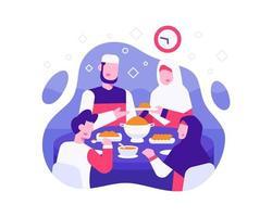 sfondo iftar con la famiglia musulmana mangia insieme all'ora iftar vettore