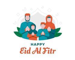 felice eid al fitr sfondo con illustrazione famiglia musulmana vettore