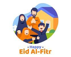 felice eid al fitr sfondo con la famiglia musulmana di fronte a casa vettore