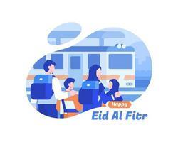 felice eid al fitr sfondo con la famiglia musulmana alla stazione ferroviaria vettore