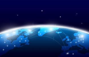 Mappa del mondo tecnologia digitale e concetto di connessione