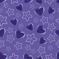 cuore viola e motivo a stelle senza soluzione di continuità vettore