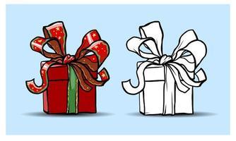 elementi isolati di natale. scatole regalo. cartone animato, colorfull e contorno. schizzo. vettore