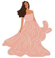 Ritratto di donna che indossa un abito rosa