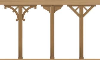 set di colonne architettoniche in legno d'epoca vettore