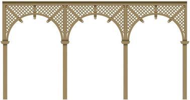 veranda arcade classica in legno con archi vettore