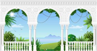 archi di un palazzo orientale vettore