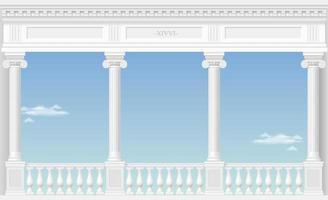 balcone di un favoloso palazzo con vista sulle nuvole vettore