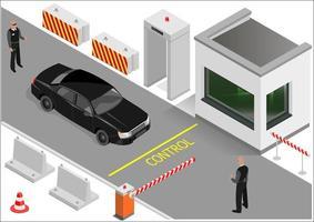 edificio di guardia isometrica o punto doganale vettore