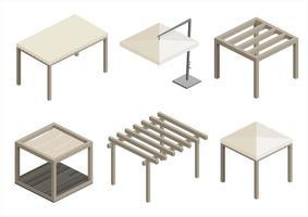 set di moderni padiglioni da spiaggia vettore