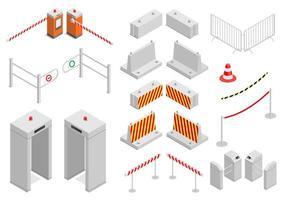 insieme di elementi di sicurezza e infrastruttura di sicurezza della città vettore