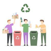 gente verde che ricicla l'illustrazione dei rifiuti vettore