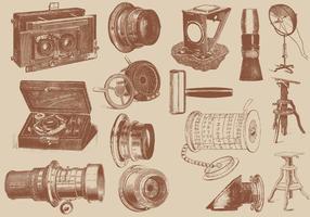 Accessori per macchine fotografiche antiche vettore
