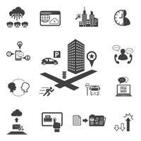 set di icone di affari e tecnologia vettore
