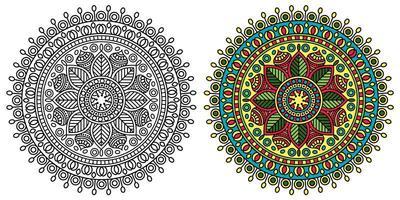 pagina da colorare mandala ornamentale arrotondata vettore