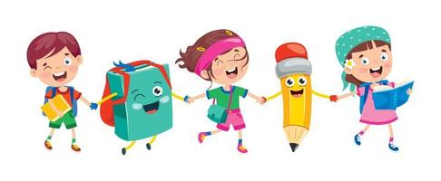 borsa, matita e bambini sorridenti