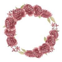bordo cornice rotonda fiore rosa bordeaux dell'acquerello vettore