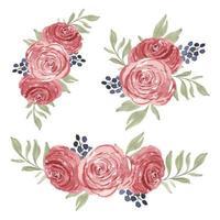 collezione di bouquet di fiori ad acquerello con rose vettore