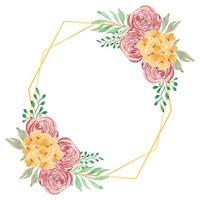acquerello rustico rosa floreale con cornice dorata