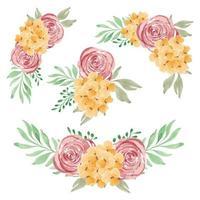 collezione di bouquet di fiori rossi gialli dipinti a mano dell'acquerello vettore