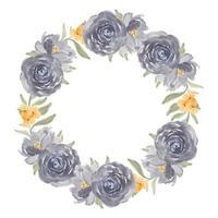 corona di fiori rosa viola dell'acquerello
