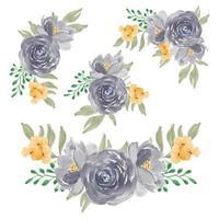 collezione di bouquet di fiori rosa viola dell'acquerello vettore