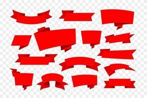 set di banner di nastro rosso vettore