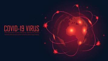 poster rosso incandescente con design scoppio globale