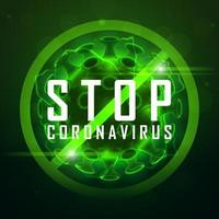 simbolo di coronavirus stop verde incandescente