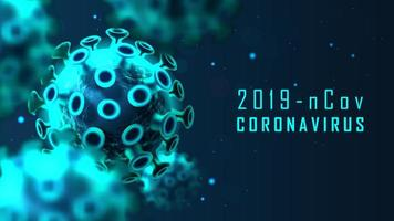 banner di cellule blu coronavirus incandescente