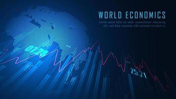disegno di economia mondiale blu incandescente
