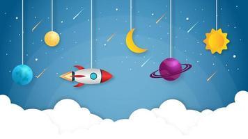 razzo spaziale sospeso con stelle e meteore vettore