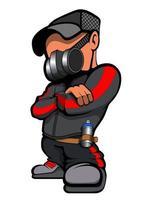 cartone animato artista di graffiti vettore