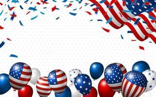 bandiera americana, coriandoli e palloncini vettore