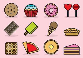 Icone dolci da dessert vettore