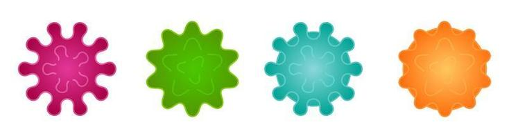 insieme del fumetto di virus e batteri vettore