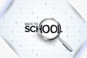 ritorno a scuola poster con lente d'ingrandimento