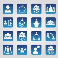 set di 16 semplici icone delle risorse umane