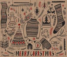insieme di elementi di design di Natale disegnati a mano