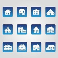 set di 12 icone di casa vettore
