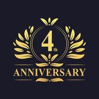 Logo dorato del 4 ° anniversario vettore