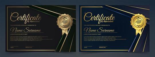 modello di certificato nero oro, blu scuro
