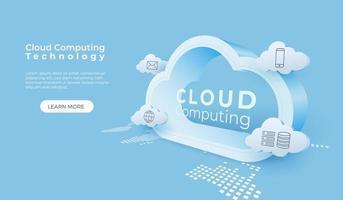 tecnologia digitale cloud computing vettore