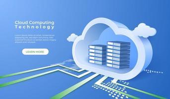 tecnologia di cloud computing digitale vettore