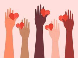 mani femminili sollevate con cuori vettore