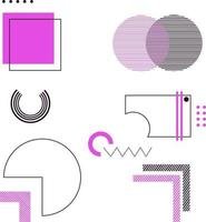 elementi di design geometrico viola e nero