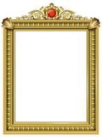 cornice barocca classica dorata con gioiello rosso