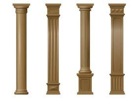 colonne architettoniche classiche in legno intagliato